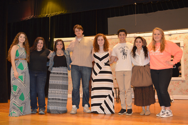 The cast of `Cinderella` poses on stage. From left, Christine Oliveri, Gina Brown, Alexis Watters, Andrew Zuccari, Lindsey Clark, Giuliano Pupo, Gabrielle Iacona and Brontë Mantell.