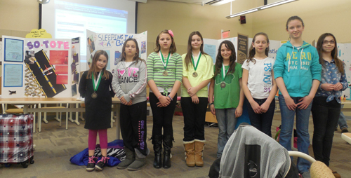 Pictured, inventive Colonial Village students showed off their ideas at last week's Niagara-Wheatfield Board of Education meeting.
