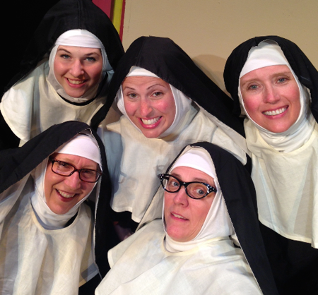 In the front row, from left, are Joann V. Mis as Sister Mary Hubert and Debby Koszelak Swartz as Sister Mary Regina. In the back row, from left, are Jill Anderson as Sister Mary Leo, Katherine Quattrini as Sister Robert Anne and Linda Casterline-Liberti as Sister Mary Amnesia. (Contributed photo)