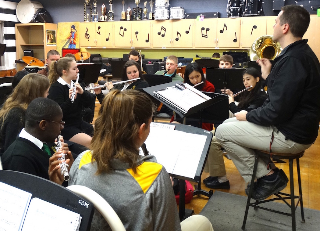 Scott Bean, shown at right, leads the O'Hara band at a rehearsal at the school in the Town of Tonawanda.