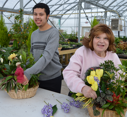 Curtis Grant and Annie Brandt, participants in the horticulture program at Opportunities Unlimited of Niagara, are preparing baskets for sale this holiday season.