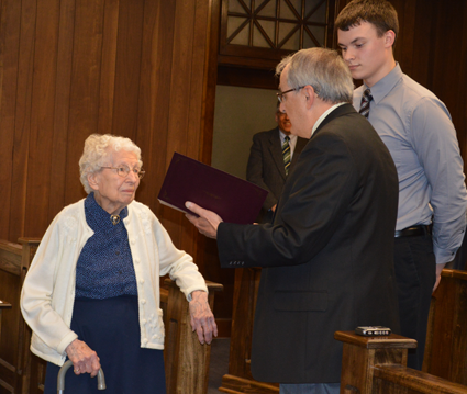 Helen W. Allen recently celebrated her 107th birthday. She was recognized at the start of the meeting by Mayor Arthur Pappas, shadowed by student Jacob Lemke.