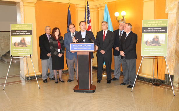 Pictured, from left, are Niagara County Legislature Chairman Bill Ross, Niagara County Department of Mental Health Director Laura Kelemen, Niagara County Legislator Wm. Keith McNall, Sen. Rob Ortt, Veterans One-stop Center Vice-Chairman Col. John Higgins, Niagara County Clerk Wayne Jagow and Niagara County Legislator Tony Nemi.
