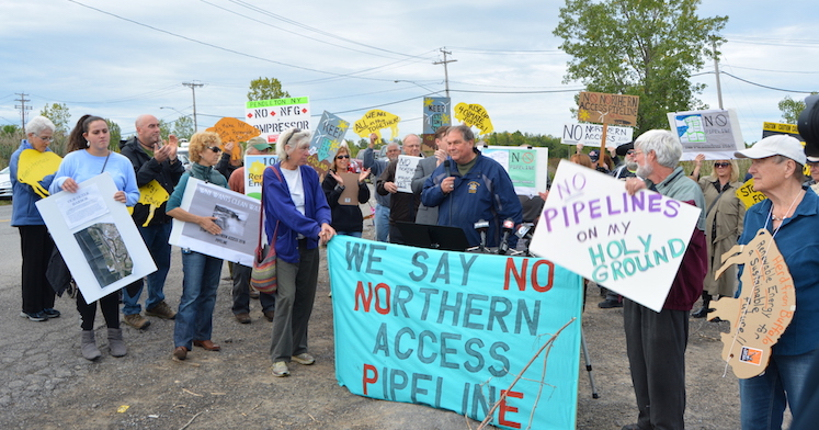 Protestors gathered last fall to speak out against the Northern Access Pipeline Project. A dehydration facility is planned for Liberty Drive in Wheatfield. (File photo)