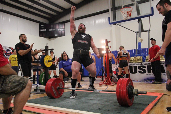 Paul Emmick after deadlifting 755 pounds. (photo by Thomas Cannuli)