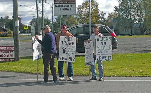 Veterans of Foreign Wars members Vince Canosa, Billy McKeown and Eugene Ashley.
