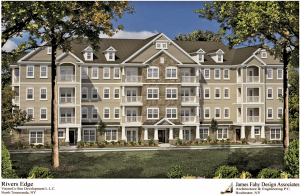 Shown is an artist's rendering of one of River's Edge Development's apartment buildings. (Image courtesy of VisoneCo Site Development)