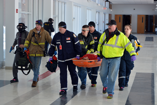 First responders staged a simulated crisis situation and worked on response efforts on Friday at the Niagara-Wheatfield Central School District.