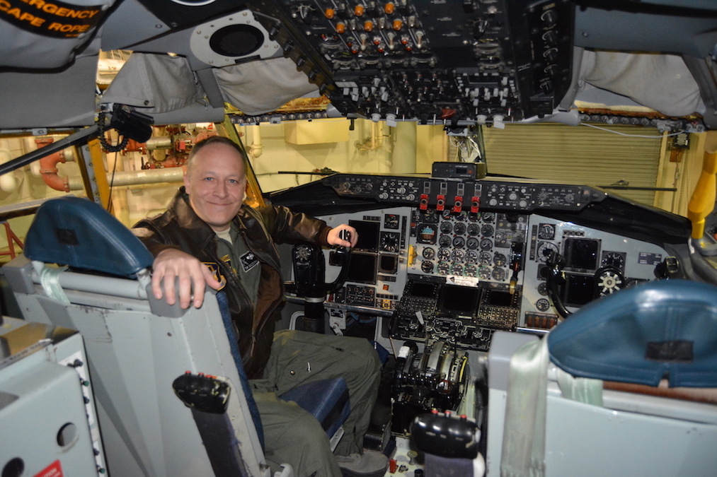 Operations group commander Thomas Scozzafava, a Niagara-Wheatfield graduate, sits in the cockpit of the 914th's KC-135 Stratotanker.