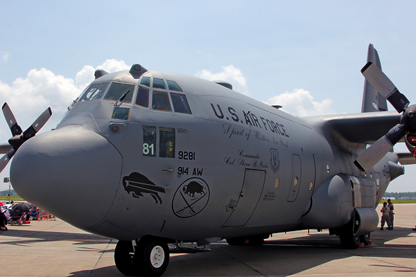 Shown is a C-130 military aircraft with Buffalo Bills and Sabres team logos on its side, along with the message, `The Spirit of Western New York.` The plane was dedicated to the people of Western New York at July's 2015 Thunder of Niagara Air Show as a show of support. (File photo)
