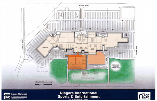 Shown is a site plan for the Niagara International Sports and Entertainment at The Summit mall by Lauer-Manguso & Associates Architects. (Click to enlarge)