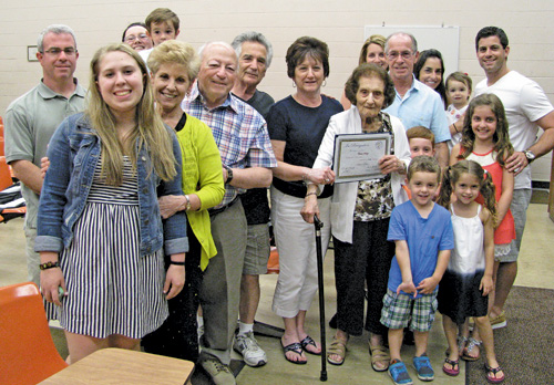 Longtime Town of Niagara resident Fannie Scalzo is shown with family members. She was presented a certificate by the Town Board on Tuesday honoring her 100th birthday. (photo by Susan Mikula Campbell)