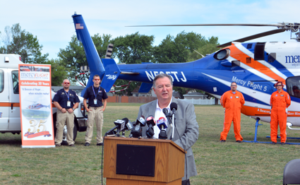 Town of Niagara Supervisor Lee S. Wallace speaks at a press conference on the new contract between the town and Mercy Flight Western New York.