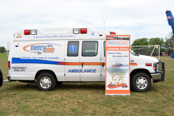 Shown is a Mercy Flight Western New York ambulance servicing the Town of Niagara.