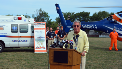 Doug Baker, Mercy Flight president and founder, speaks to the public at Monday's press conference.