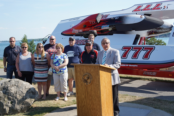 City of North Tonawanda Mayor Arthur G. Pappas announced the Thunder on the Niagara boat-racing event during a press conference Tuesday in Gratwick Riverside Park. Also present at the announcement were City of North Tonawanda Attorney Katherine D. Alexander and 2nd Ward Alderwoman Donna Braun. (Photo by Larry Austin)