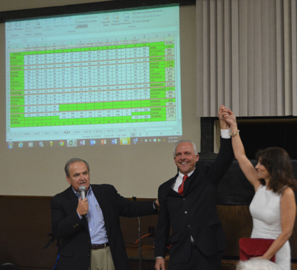 Republican Joseph A. Jastrzemski celebrated his victory of being chosen as the new Niagara County clerk at St. Johnsburg Fire Co. Tuesday night. He defeated Democratic opponent Jamie R. Moxham 16,730 to 14,268. From left: Maziarz, Jastrzemski and his wife, Kathy.