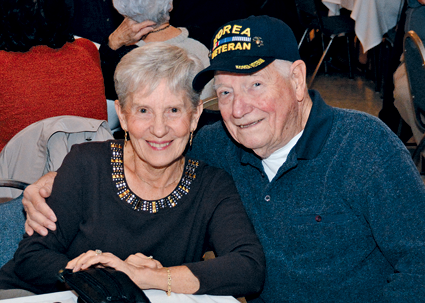 Local veterans and their families attend the dinner.