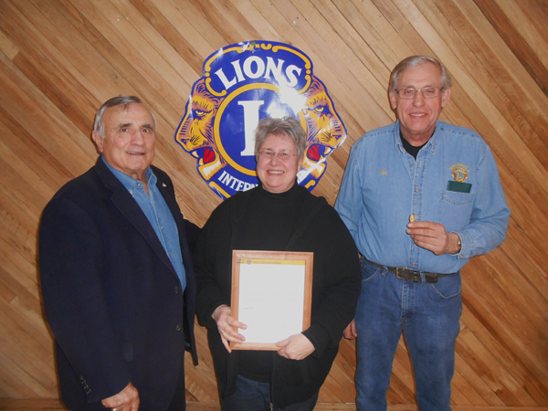 From left: Town of Wheatfield Lions Club President Bill Ross, Lion Barbara Elzer-Michno and Treasurer Art Kroening. (Photo submitted by Town of Wheatfield Lions Club secretary Justin Higner)