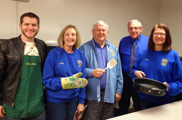 Wheatfield Lions Club members prepare for the club's annual spring pancake breakfast. (Photo by Grand Island Lion Tom Witkowski)
