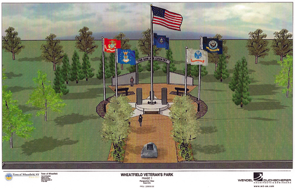 Shown is an artist's rendering of the veterans memorial planned for Wheatfield's Fairmount Park. (Image courtesy of Wendel)