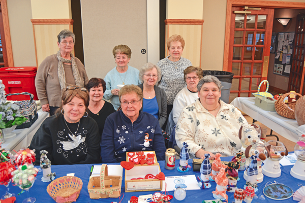 Crafters sold their homemade creations during Winterfest. Back row, from left, are Judy Zastrow, Marlene Bogart and Gladys Guize. Middle row, from left, are Denise Driscoll, Eileen Monroe and Judy Bugenhagen. Front row, from left, are Eileen Wyland, Joan Piorkowski and Pauline Scibetta (Photos by Lauren Zaepfel).
