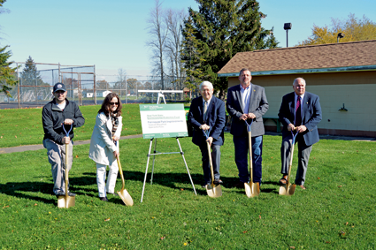 Shown is a symbolic groundbreaking at Fairmount Park by Town of Wheatfield officials.