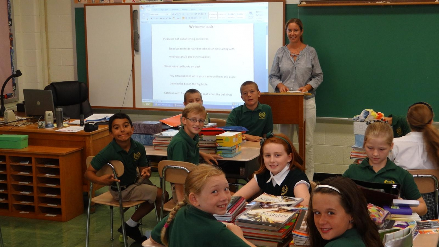 Jennifer Hoplight's fifth-grade class is ready for its first day of studies. (photo by Denise Bobak/St. Stephen School)