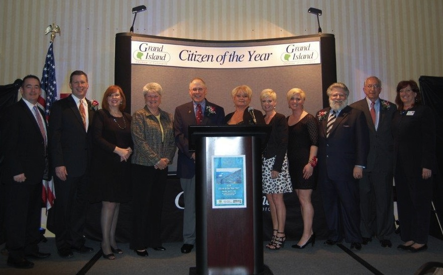 At its 47th annual Citizen of the Year Awards banquet on April 25, the Grand Island Chamber of Commerce honored people and businesses who make the Island a better place to live work and play. Pictured at the ceremony are, from left, Eric Fiebelkorn, president of the Grand Island Chamber of Commerce; Citizen of the Year award winners Martin Allen, Beverly Kinney, Linda Tufillaro, Paul Leuchner; Ingrid Kinney, Danielle Neuhaus and Erica Forbes of Wavelengths Hair Design; Rev. Kevin Backus, James Watz, and event chair Liz Wilbert.
