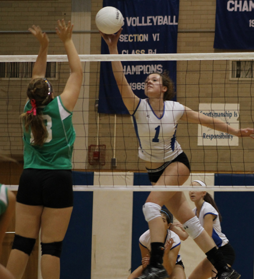 The Grand Island Vikings girls volleyball team improved to 4-0 on the league season with a straight set victory over Lewiston-Porter on Monday. Pictured is senior Al Brown. (photo by Larry Austin)