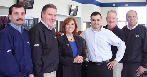 Citizen of the Year Awards Chair Bev Kinney of the Grand Island Chamber of Commerce is pictured with the event's platinum sponsor Fuccillo Chevrolet. From left:  Don Derk, General Manager Tom Kanaley, Kinney, event Chairman Mark Zogaria, Norm Brady and Brian Moore.