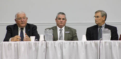 Candidates for Town Council met in a forum on Oct. 20. From left: town supervisor candidate Peter McMahon; Town Council candidates Norm Moorhouse and Jim Sharpe.