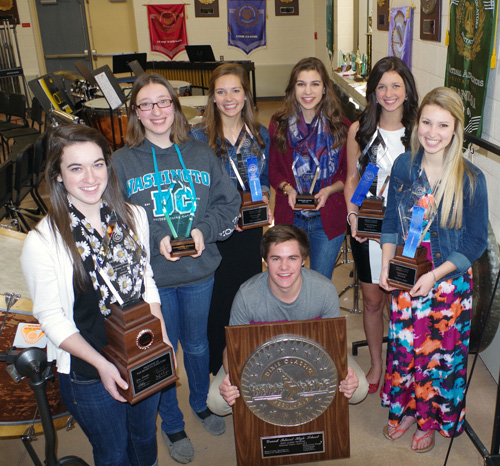Grand Island High School music students show the awards they brought home from the Dixie Classic Festival in Washington, D.C., April 4. From left, Cassie Shickluna, Katie Kovacs, Carly Bernatovicz, Natalia Christiano, Jenna Stufkosky, Kate Fonte and Eric Riederer.