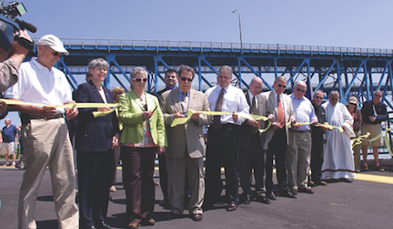 Government officials cut a ceremonial ribbon May 15 at Fisherman's Landing, a small park on East River Road that provides increased access to the Niagara River.