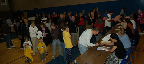 More than 1,800 Island residents voted at the high school gymnasium in Tuesday's annual Grand Island Central School District budget vote and school board trustee election. (photo by Larry Austin)