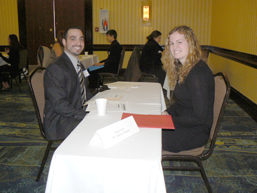 Students from Grand Island High School took part in the Job Search Seminar at Byblos Niagara Resort & Spa. Pictured, Anthony Massaro of RigaTony's interviews senior Julia Kelly.