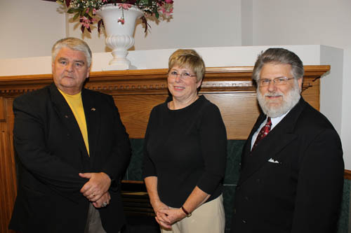 Grand Island political committee chairs met recently at the Family Life Center on Love Road to discuss the next `Meet the Candidates Night,` set for Oct. 20 at the center. Representing Island committees were, from left, Independence Committee chair Tom Clabeaux, vice chair of the Democratic Committee Glenda O'Connor, and Conservative Committee chair Dr. Kevin Backus. Not pictured is GOP Committee chair Debbie Michaux. (photo by Larry Austin)