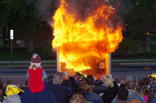 A small couch fire turned into a blazing inferno in a matter of 46 seconds after ignition in this fire demonstration at Grand Island Fire Co.'s open house on Oct. 12. (photo by Larry Austin)