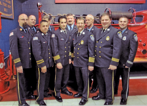 New York State Fire Training Instructor Mark Butler administered the oath of office to newly elected Grand Island Fire Co. officers on Saturday, Jan. 11, at fire headquarters, 2275 Baseline Road.