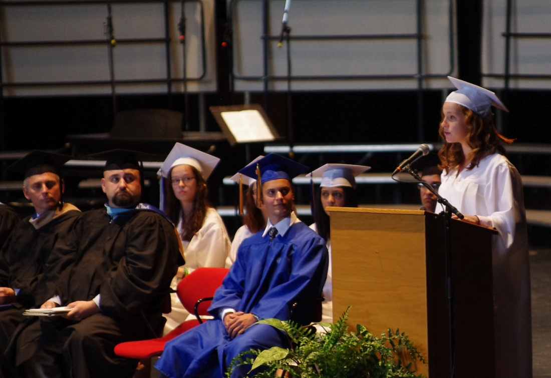 Salutatorian Dominic Morell addresses the Class of 2012. (photo by Larry Austin)