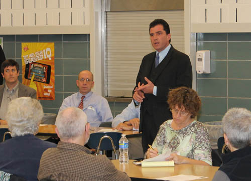 State Sen. Mark Grisanti held a meeting at Grand Island High School Tuesday and discussed Gov. Andrew Cuomo's recent tax proposal, as well as other topics. He provided results of a recent survey of 948 Island residents. (photo by Larry Austin)