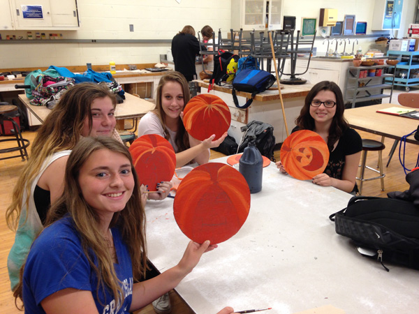 Students in the Art Club of Grand Island High School make props for the upcoming `Isle of Horror` and `Isle of Spooky Fun,` which will open Friday and Saturday, Oct. 24 and 25, at the Nike Base.