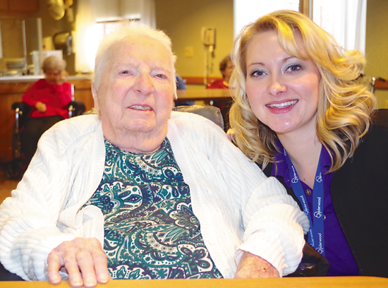 Hazel Smith, born Dec. 21, 1914, in Scotland, is pictured with Sabrina Wilson, director of activities and volunteer services of Elderwood at Grand Island. (photo by Larry Austin)