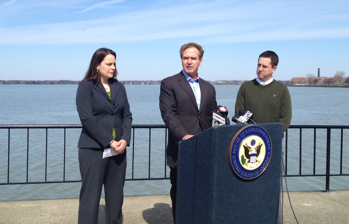 Pictured from left: Jill Jedlicka, executive director of Buffalo Niagara Riverkeeper; Congressman Brian Higgins; and Brian Smith, program and communications director for Citizens Campaign for the Environment.