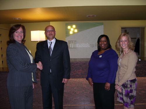 The Holiday Inn Grand Island has been named a platinum sponsor by the Grand Island Chamber of Commerce's Citizen of the Year Awards Committee. Pictured, from left, are Citizen of the Year Committee Chair Liz Wilbert, Holiday Inn General Manager Shazad Ansari, Catering Sales Manager Tracy Collymore and Sales Manager Joyce Curry.