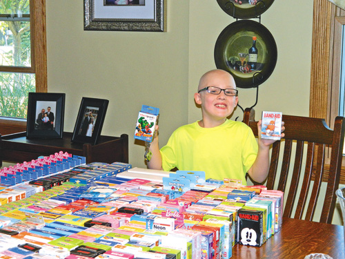 Luke Gworek of Grand Island is holding a Band-Aid collection drive for Roswell Park Cancer Institute.