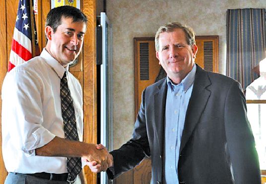 Erie County Legislator Kevin Hardwick, right, who represents Grand Island at the county level of government, attended a fundraiser for Mike Madigan, who is seeking to represent the Island at the federal level in Congress.