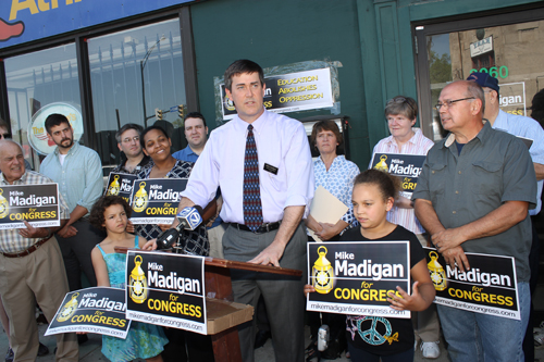 Mike Madigan of Grand Island kicked off his campaign for Congress Sunday in front of supporters at his headquarters on Buffalo's East Side.