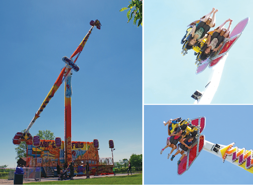 Brooklyn Alanna, right, and Alicia Marion of Buffalo, went Over the Falls at Martin's Fantasy Island Saturday. (photos by Larry Austin)