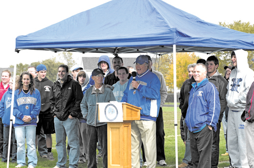 Grand Island Athletic Director Jon Roth led a ceremony at halftime of the last varsity football game played on Masters Field Saturday before the field will be renovated with turf and lights. (photo by Larry Austin)